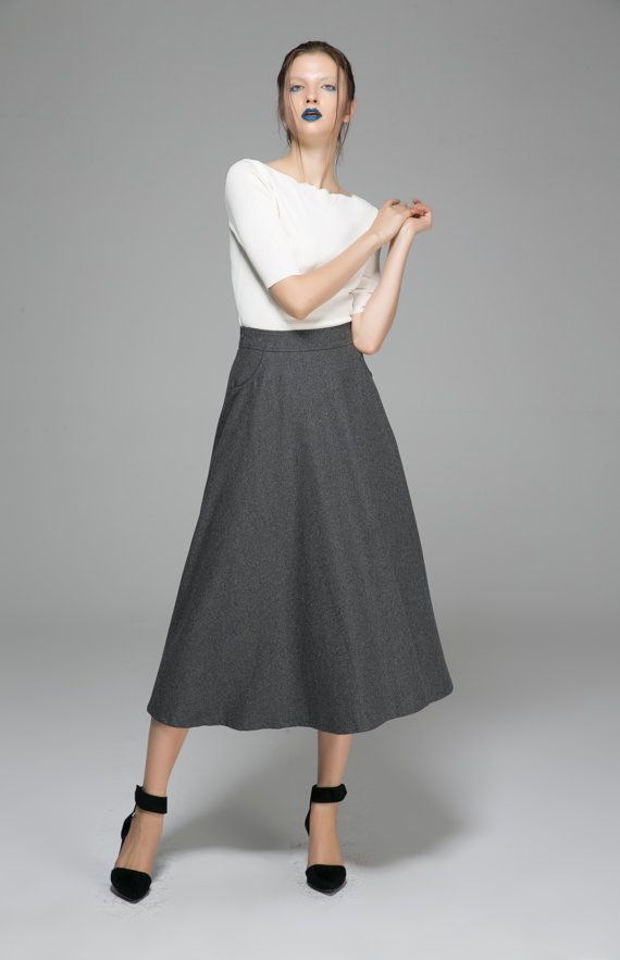 jupe grise jupe de laine jupe longue jupe swing jupe