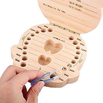 Leisial Caja de Almacenamiento de Dientes de Leche Souvenir Caja Guardar Madera Diente Organizador de la Caja para Niños Bebé 1pc(Español): Amazon.es: Hogar