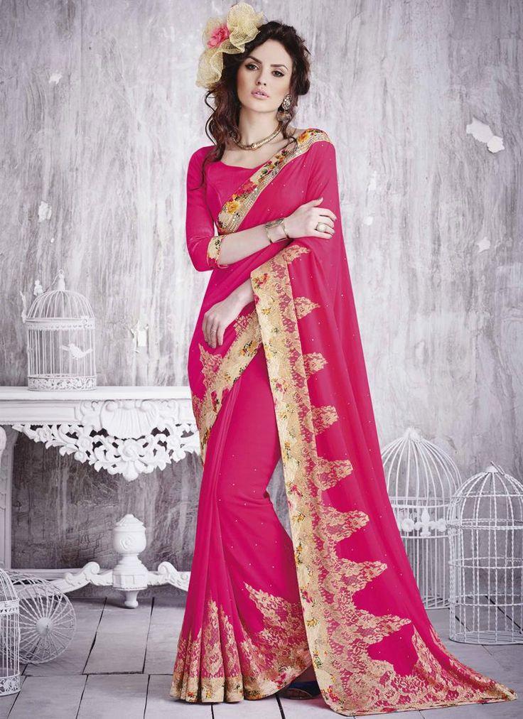 Breathtaking Georgette Hot Pink Designer Saree