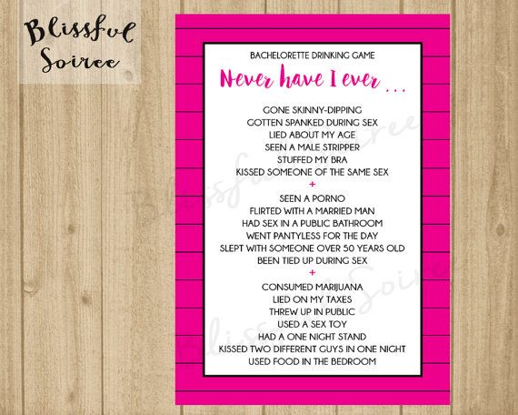 Bachelorette Party Game / Never Have I Ever / by BlissfulSoiree