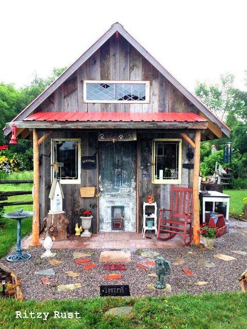 Funky Junk Garden Shed Decor | one little ritzy junk shed