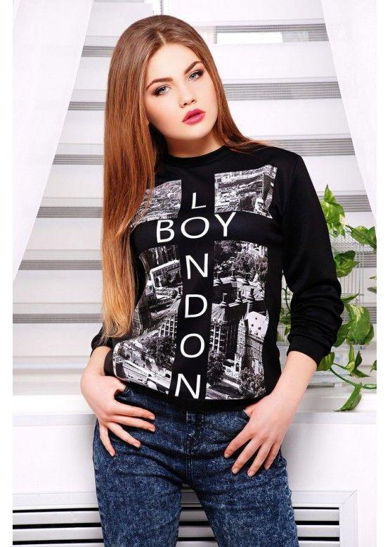 Boy London кофта Свитшот №2 (весна) д/р принт-черная отделка