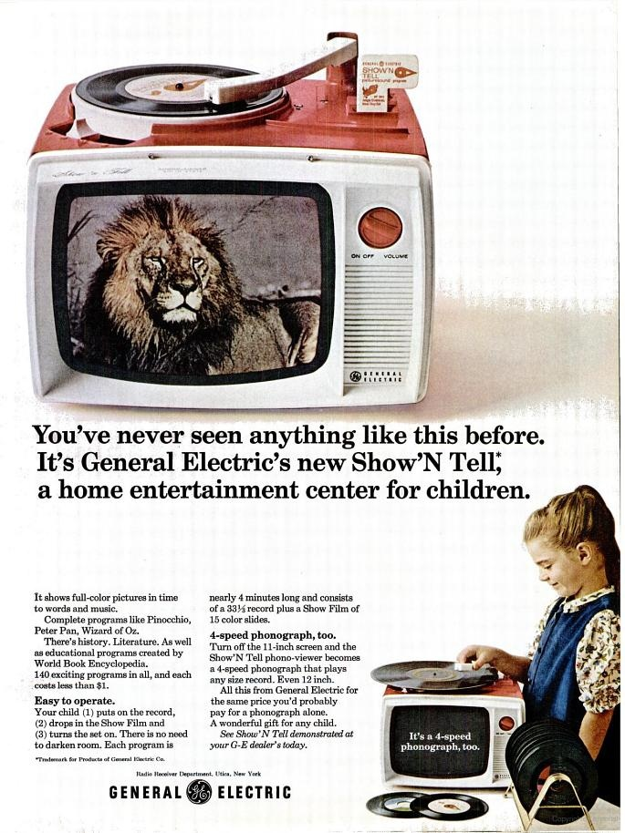 LIFE Nov 19, 1965 advertisement for thr General Electric Show'N Tell I had one of these when I was 5 or 6 I used to love to watch the slide show and listen to the record tell the story seems like yesterday!!!