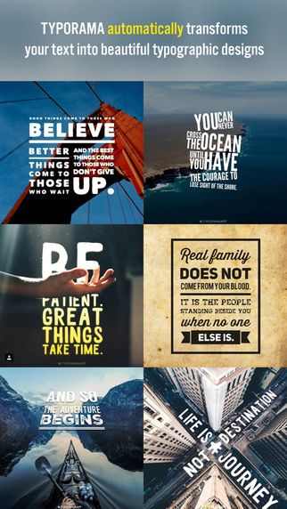 Typorama - Typography Generator, Cool Fonts Pic Design and Instant Creative Text over Photo Editor sarp Erdag 타이포 폰트 포스터 꾸미기