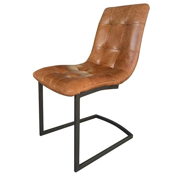 Standford Brown Leather Dining Chairs Pair Leather Dining Chairs Dining Room Chair Industrial Dining Chairs