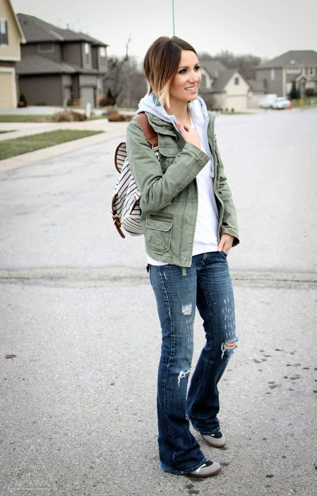 Destroyed flares, wedge sneakers, military jacket