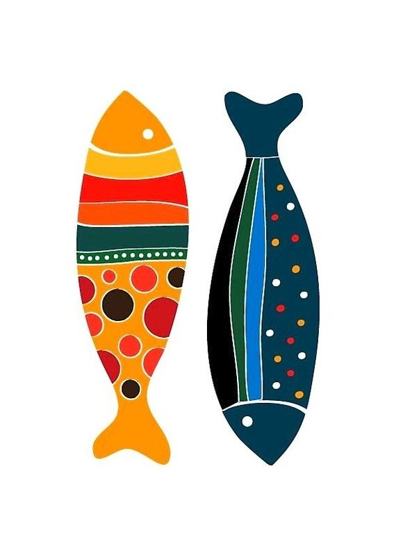 Fish Print - more colors and designs for fish painted on rocks and stones