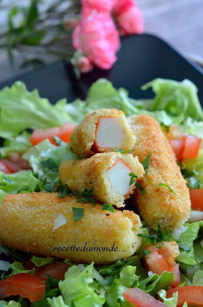Bonjour Une petite idée simple pour accompagner une salade par exemple, des bâtonnets de surimi panés! Il vous faudra