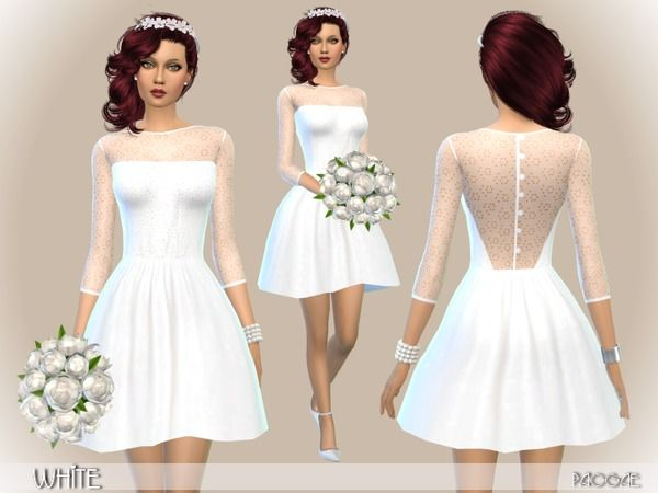 White dress by Paogae at TSR via Sims 4 Updates                                                                                                                                                      More