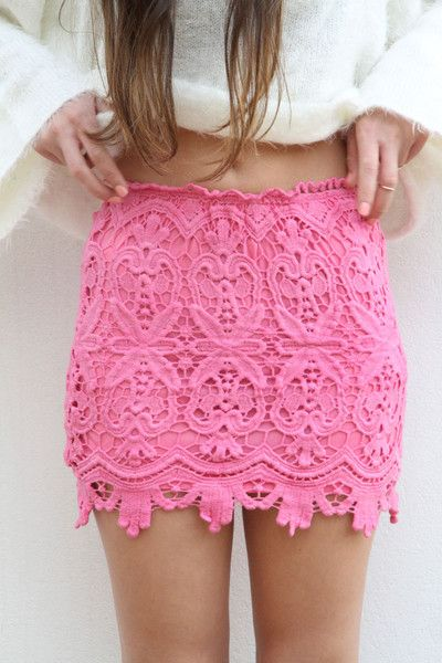 Perfect beyond all words: Fashion, Style, Pink Skirts, Pink Lace Skirts, Summer Outfits, Summer Skirts, Pencil Skirts, Laceskirt, Crochet Skirts