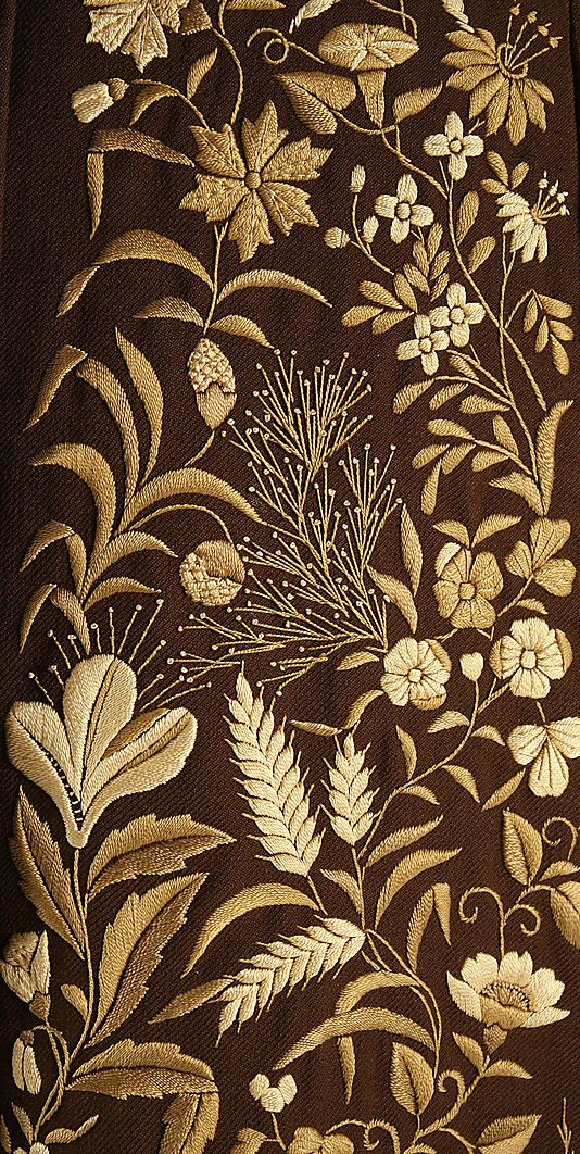 Embroidery on a Dress      1876–78: Antiques American, Embroidery Patterns, Costume Institut, Dresses Details, Floral Embroidery, Crewel Embroidery, Gold Embroidery, Beauty Brown, Metropolitan Museums