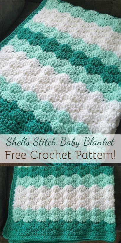 [Free pattern] Shells Stitch Baby Blanket #crochet #shells #stitch #crochetpattern #freepattern