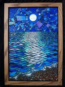 night ocean waves stained glass