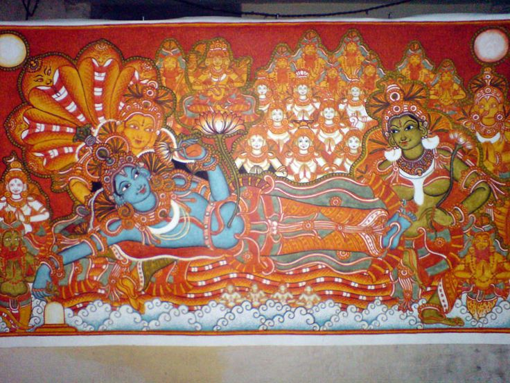 Kerala mural painting wall painting ideas pinterest for Ananthasayanam mural painting
