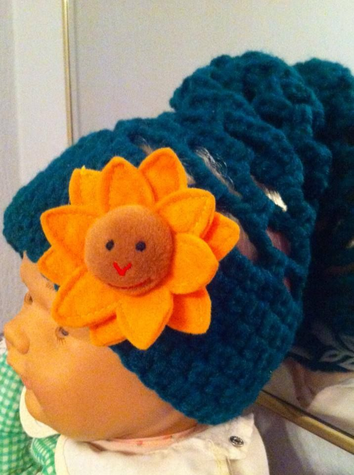 Baby funky beanie with brooch!