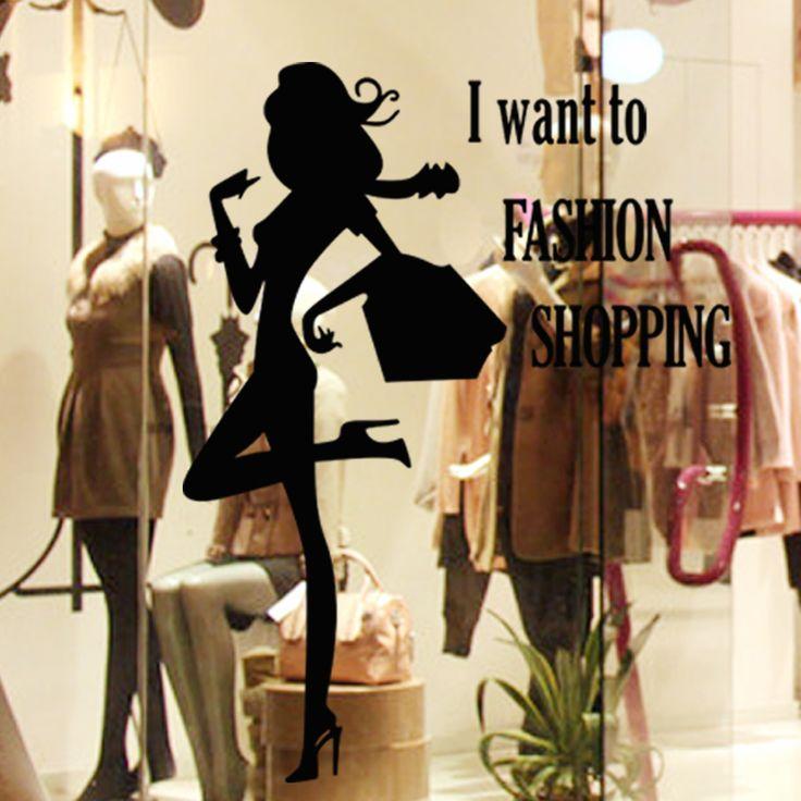 Магазин одежды Стены Наклейки Магазин Одежды Окна Наклейка 22 Цвета Выбрать Домашнего Декора