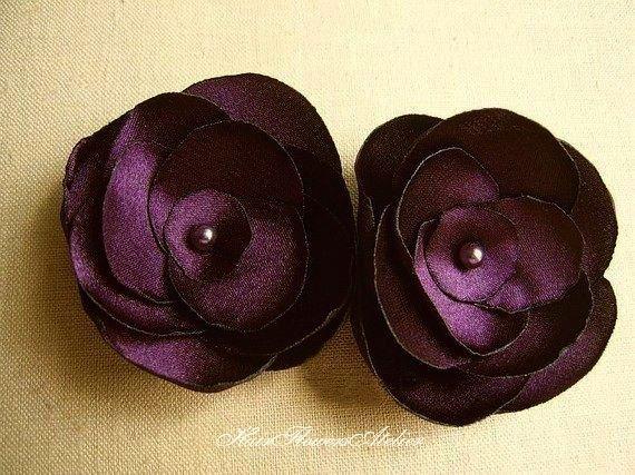 Eggplant Hair Pins Eggplant Hair Flowers Plum Bridal Flowers Floral Hair Slides Eggplant Boutonniere Aubergine Purple Pins Discount Prices