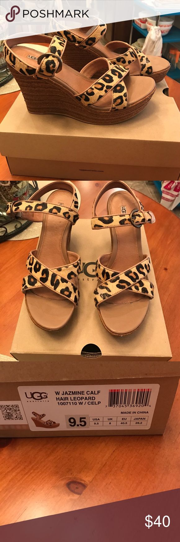 UGG CALF HAIR LEOPARD WEDGES Super cute and stylish leopard wedge! UGG Shoes Wedges