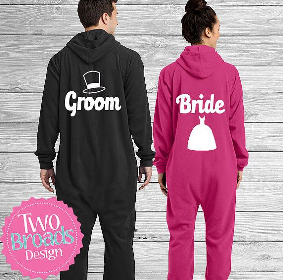 adult footie pajamas, Set of 2 Bride and Groom Onesies, adult Onesie, Footie Pajamas,  Footie Pajamas, Pjs, Husband and Wife Pajamas