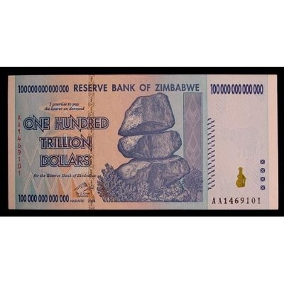 Zimbabwe 100 Trillion Dollar Bill Banknote // Our monetary future if we do not return to sound money...