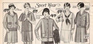 Youthful teen sport clothing- Middy Blouses, skirts, sweaters, and summer hats http://www.vintagedancer.com/1920s/teenage-girls-fashion-in-the-1920s/