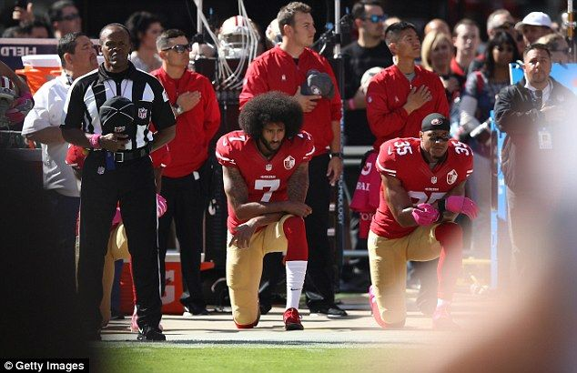 Protests during the national anthem have been a hot-button issue in recent months, starting with the decision by San Francisco 49ers quarterback Colin Kaepernick (center) to not stand for its playing