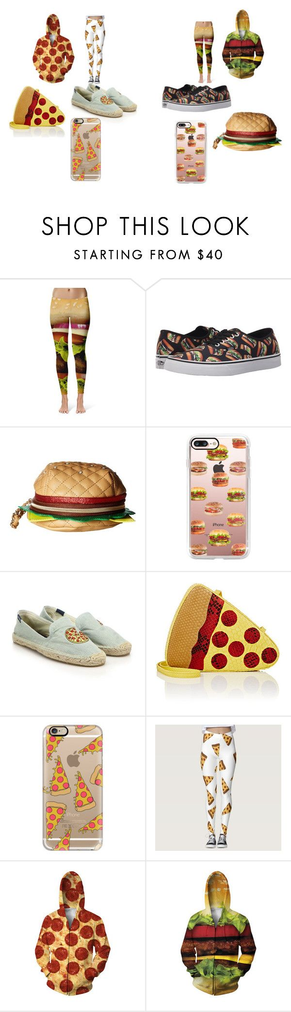 """Pizza V.S Hamburger"" by taco-lambert ❤ liked on Polyvore featuring Vans, Betsey Johnson, Casetify, Soludos and Gelareh Mizrahi"