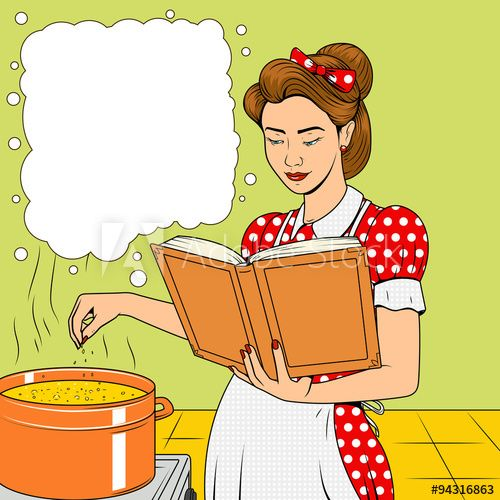 Beauty wife cooking soup retro vector