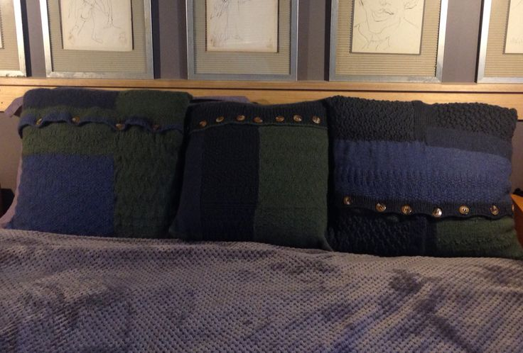 3 buttoned pillows cushions throw covers knitted in possum Merino in green, blues color block l, pieced together knitted sections