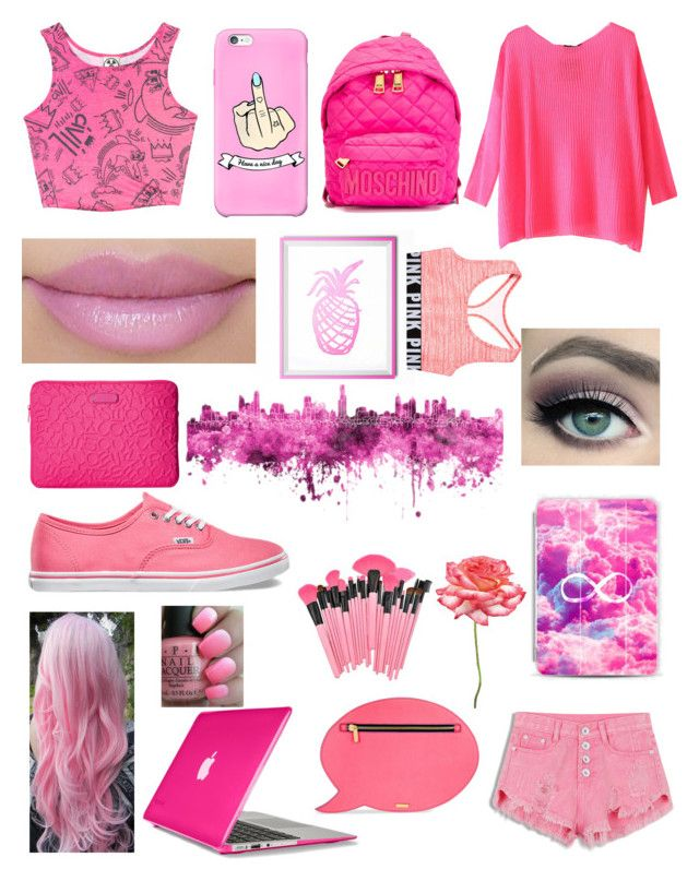 """Pretty in Pink//8am"" by explicitexposa ❤ liked on Polyvore featuring Civil, Cotton Candy, Vans, Speck, Marc by Marc Jacobs, Casetify, Moschino, Skinnydip, Universal Lighting and Decor and OPI"