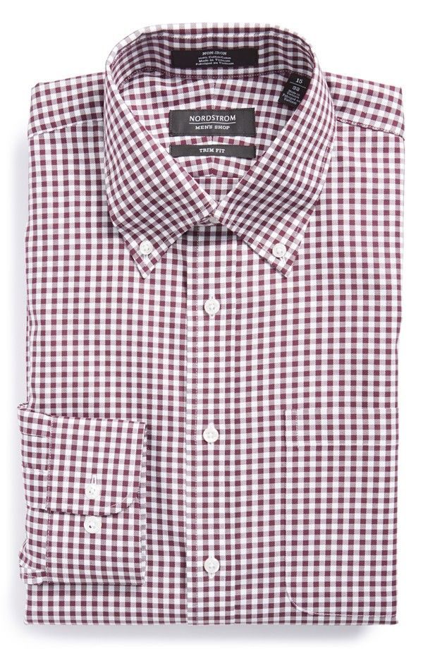 Non-Iron Trim Fit Gingham Dress Shirt (Online Only)