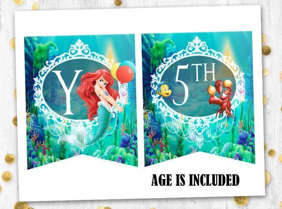 Little mermaid Ariel feliz cumpleaños bandera sirena Ariel
