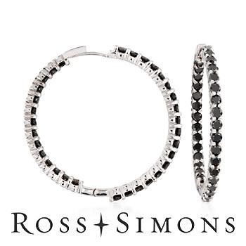 Black #Diamond Hoops: Diamond Jewelry, Black Diamonds, Diamond Hoop Earrings