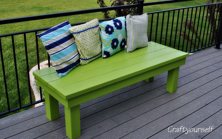 Bright fun outdoor bench. Craftyourself.com
