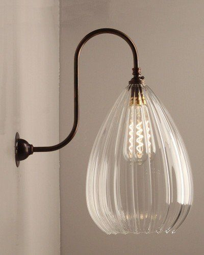 Teardrop Ribbed Glass Swan Neck Wall Light, Wellington Contemporary Lighting