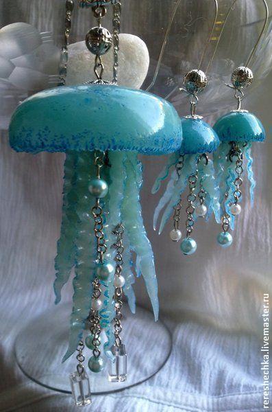 """Купить Комплект """"Медузы"""" - авторские украшения, море, морская тема, медуза, комплект украшений, подвеска"""