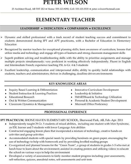 Elementary Teacher Resume Sample Resume Samples