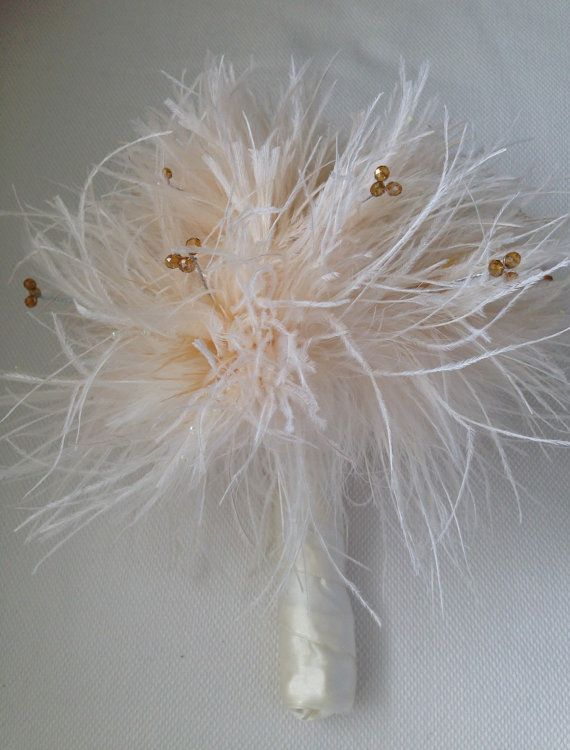 Wedding Bouquets With Feathers And Crystals : Ostrich feather and topaz crystal bead bridal wedding