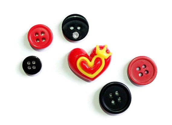 Black & Red  Love Heart  Old Button Magnets set of 6 by FuNkTjUnK