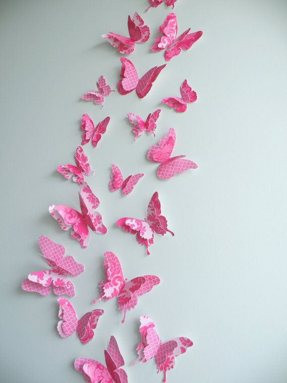 3d Butterfly Wall Decor Fancypants 27 Double Layered Butterflies Kids Wall Stickers