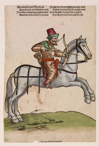 c.1530 Niklas Stoer - Archer. The print run of Mercenaries and Turks is a fine example of the unprecedented growth of printing during the German Renaissance. In the first series it is 'mercenaries', German and Swiss mercenaries who traveled to various European battlefields. The second set shows of Turkish soldiers and leaders of the Ottoman Empire. The two series together, 38 sheets, were a kind of counterparts around 1530 by a number of Nuremberg artists.: