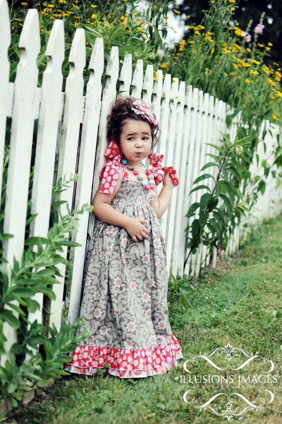 Girls Maxi Dress with Shoulder Ties in Gray Red by StitchToStitch, $55.00