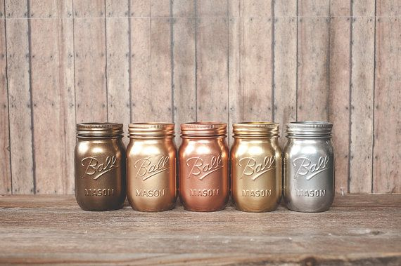 5 Painted mason jars. Bronze rose gold and by StyleJarsandCans, $39.00