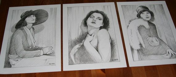 Retro vintage set 3 framed artwork Hand-drawn by NewHomeDecor