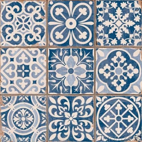 Fez Blue Vintage Moroccan Victorian Encaustic Effect Pattern Wall Floor Tiles