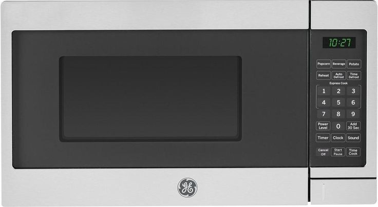 GE - 0.7 Cu. Ft. Compact Microwave - Stainless Steel/Black (Silver/Black)