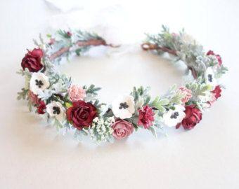 Flower Crown Peach Flower Crown Boho by MoonflowerNatureArt