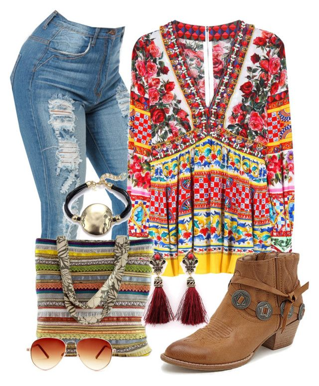 """Boémio"" by alice-fortuna ❤ liked on Polyvore featuring Dolce&Gabbana, NOVICA, Dolce Vita and Steve Madden"