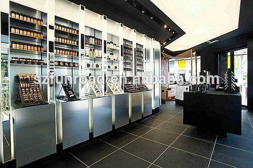 Cosméticos cosméticos tienda de decoración escaparate con vidrio y luz led/maquillaje kiosco