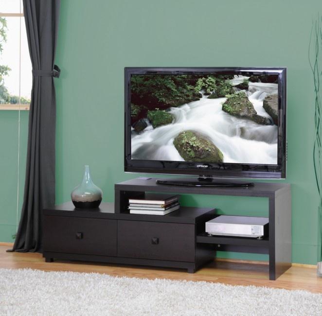 "Blythe 58"" Modern Asymmetrical TV Stand $244Baxton Studios, Dark Brown, Living Room, Interiors Baxton, Whole Interiors, Wholesaling Interiors, Studios 58, Tvs, Tv Stands"
